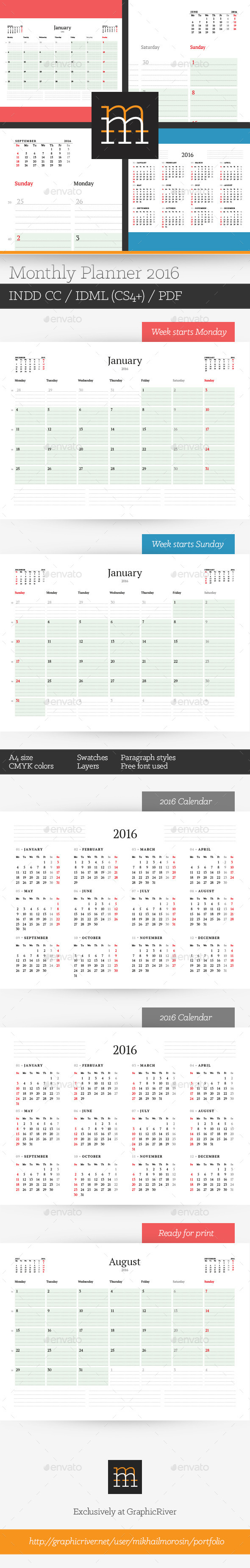 GraphicRiver Monthly Planner 2016 11648440