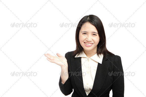 asian business woman smile introduce - Stock Photo - Images