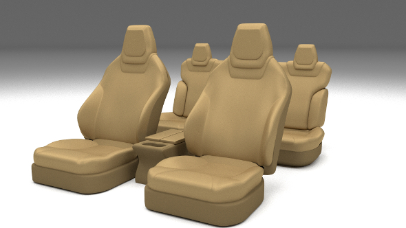 3DOcean Tesla Model S Seats Cream 11649583