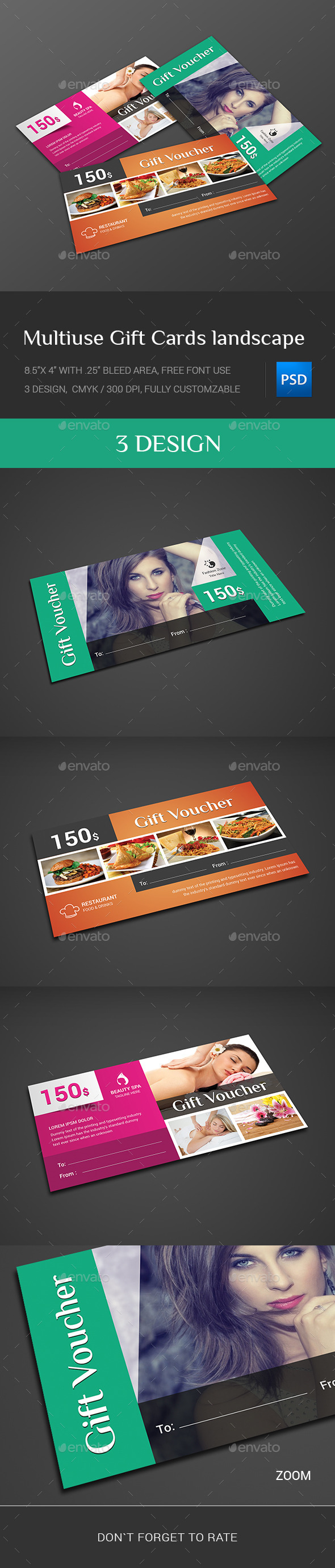 GraphicRiver Multiuse Gift Cards landscape 11649958