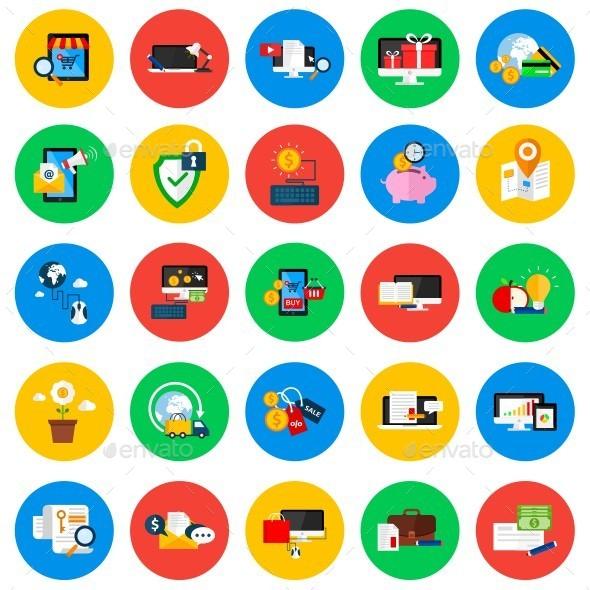 GraphicRiver Conceptual Flat Circle Icons 11650015
