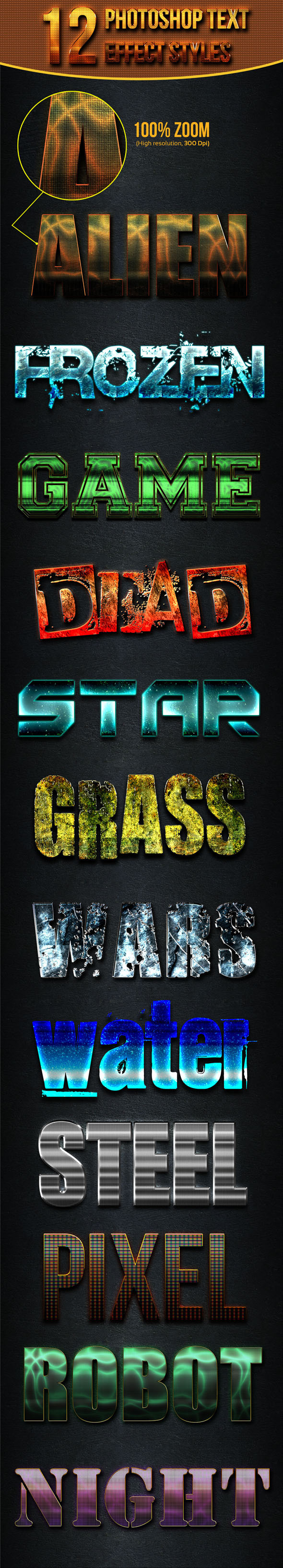 GraphicRiver 12 Photoshop Text Effect Styles Vol 12 11650499