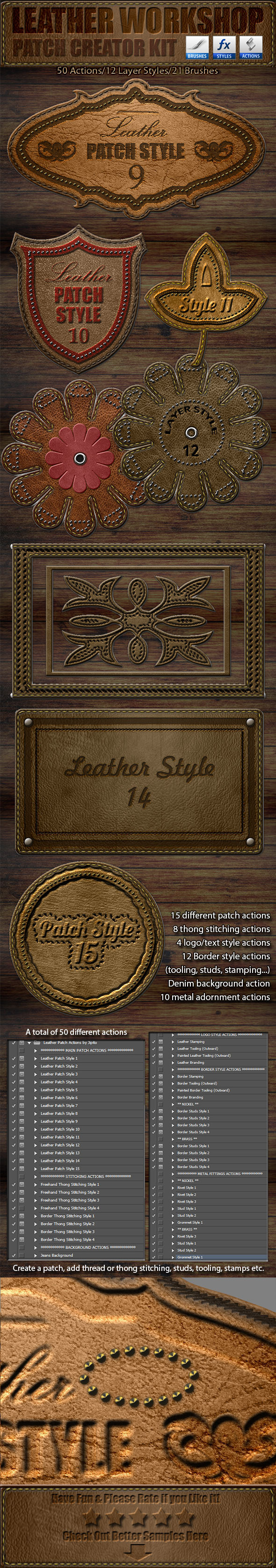 GraphicRiver Leather Workshop Patch Creator Kit 11650790