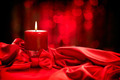 Valentine's Day. Valentine red candle on red silk - PhotoDune Item for Sale