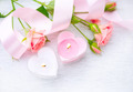 Valentines Day. Pink heart shaped candles and rose flowers - PhotoDune Item for Sale