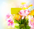 Easter holiday flowers bunch with greeting card. Colorful tulips - PhotoDune Item for Sale