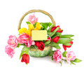 Basket of spring holiday flowers with greeting card - PhotoDune Item for Sale