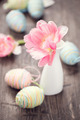 Easter photo decorated with colourful eggs and tulip - PhotoDune Item for Sale