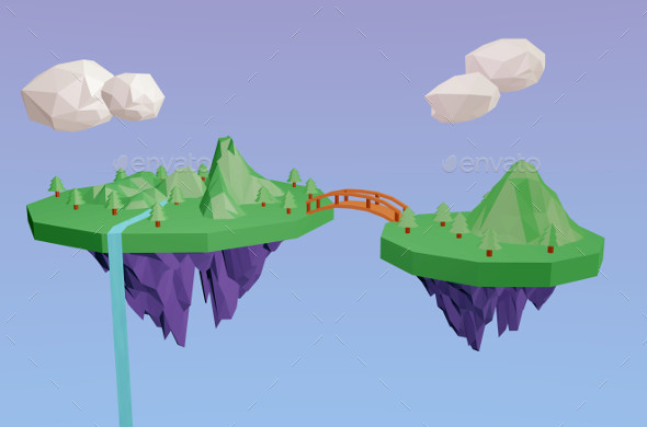 GraphicRiver 3D Lowpoly Flying Fantasy Island 11651500