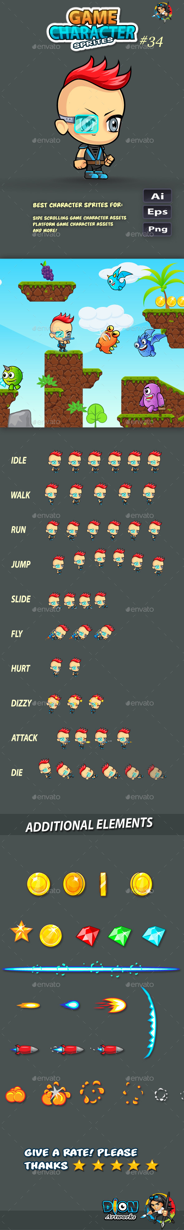 GraphicRiver 2D Game Character Sprites 34 11651607