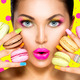 Girl with colorful makeup and manicure taking colorful macaroons - PhotoDune Item for Sale