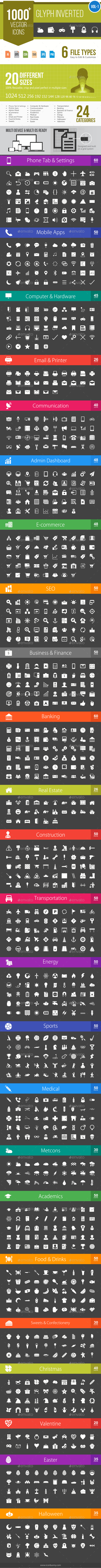 GraphicRiver 1000& Glyph Inverted Vector Icons 11652550