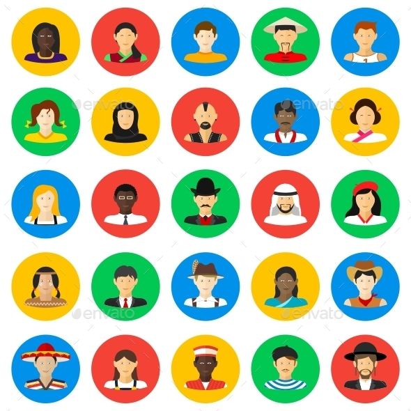 GraphicRiver Smiling People Circle Icons 11654119