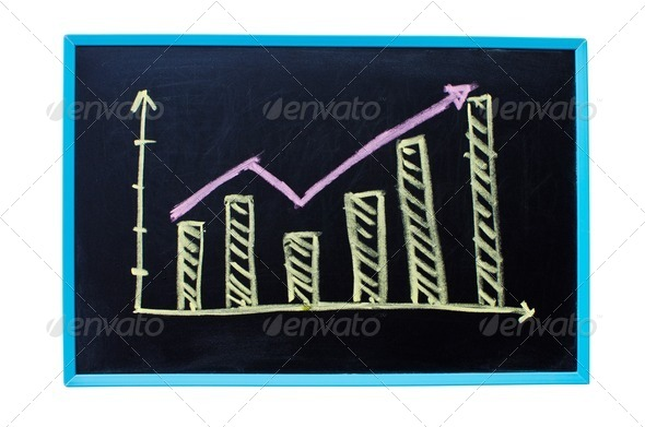 Written business chart on blackboard. - Stock Photo - Images