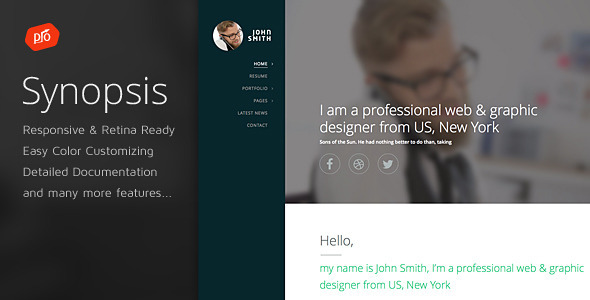 ThemeForest Synopsis Resume CV and Portfolio Template 11658170