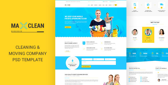 ThemeForest Max Cleaners & Movers PSD Template 11551677