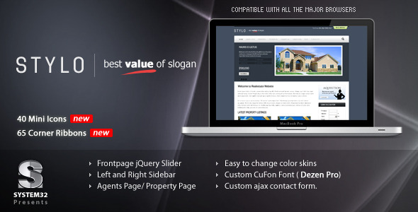 ThemeForest Stylo Premium Real Estate Template 5 Skins 143370