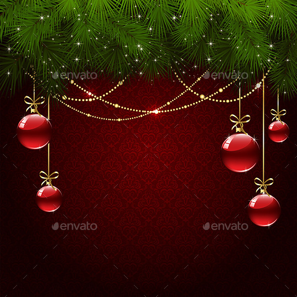 Christmas Balls on Red Wallpaper