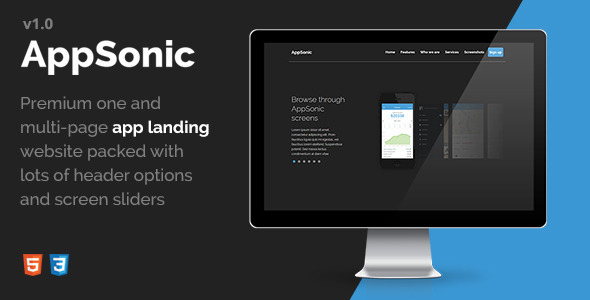 ThemeForest AppSonic Clean HTML Business App Landing Page 11669213