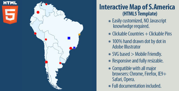 CodeCanyon Interactive Map of South America 11669307