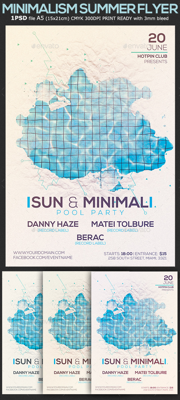 Minimalism Summer Pool Party Flyer Template 2