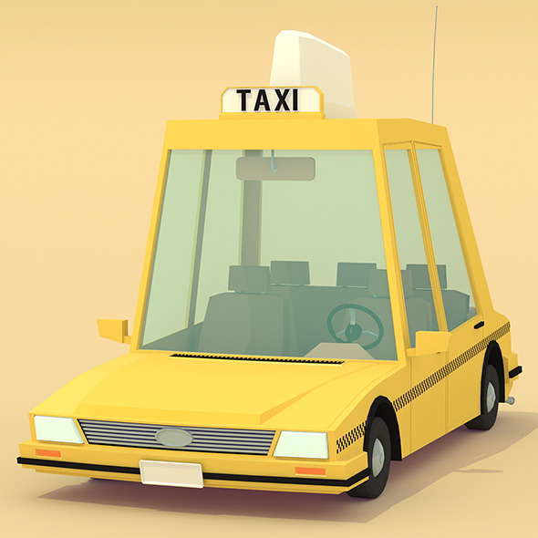3DOcean Low poly yellow cab 11671019
