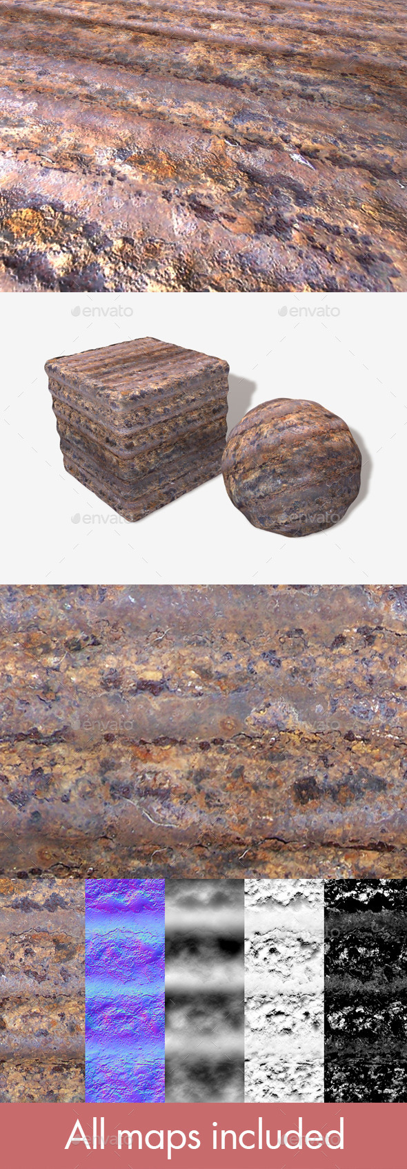 Rusty Sheet Metal Seamless Texture - 3DOcean Item for Sale