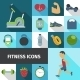 Fitness Icons Flat Shadow Set  - GraphicRiver Item for Sale