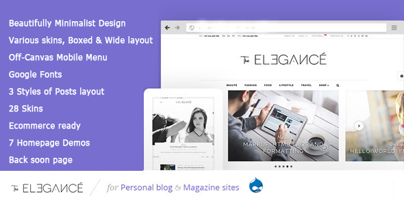 ThemeForest Elegance A Flawlessly Minimalist Blogging theme 11677898