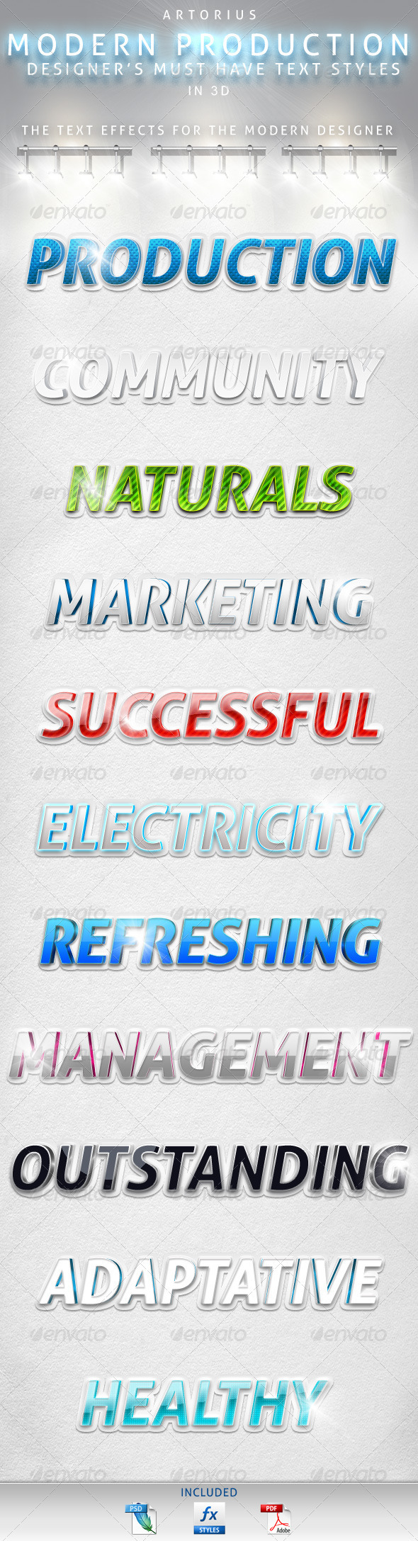Modern Production - 3D Text Styles - Text Effects Styles