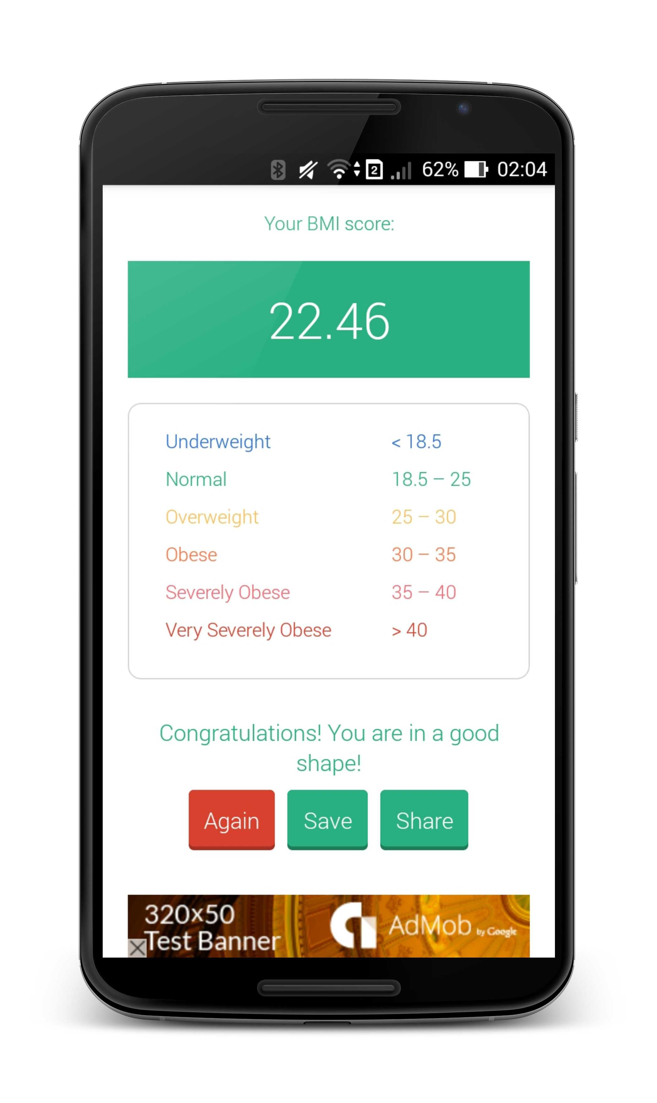 BMIBFP Calculator with Admob Flat UI by bentenstudio – Bmi Index Chart Template