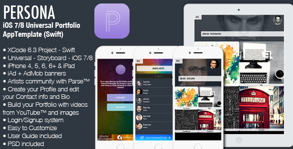 CodeCanyon Persona iOS7 8 Universal Portfolio App Swift 11679468