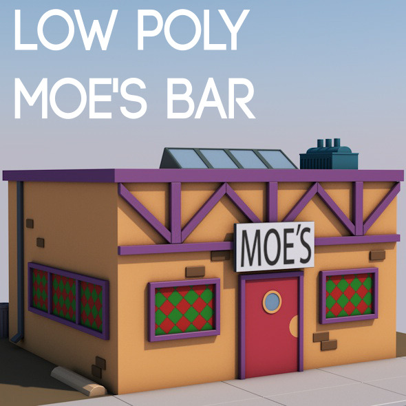 Low poly Moe's bar - 3DOcean Item for Sale