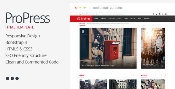 ThemeForest ProPress Responsive News & Magazine Template 11616723