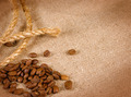 Coffee beans, rope and canvas - PhotoDune Item for Sale