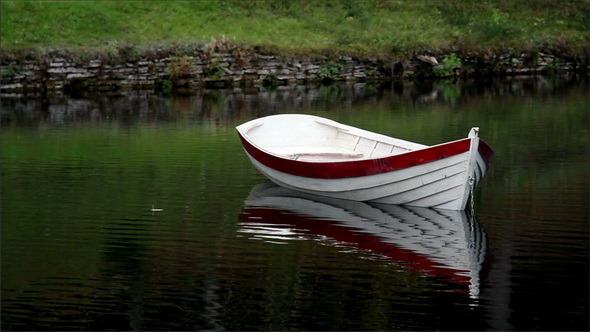 White Row Boat with Red Linings