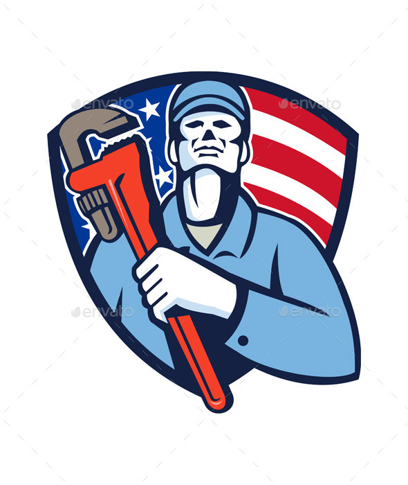 Plumber Holding Wrench USA Flag Shield
