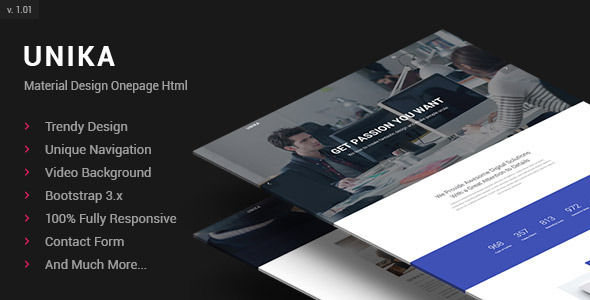 ThemeForest Unika Responsive Material Design Onepage HTML Template 11606555