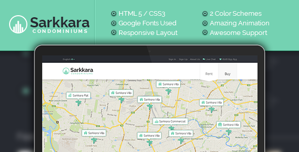 ThemeForest Sarkkara Modern Real Estate HTML5 Template 11690934