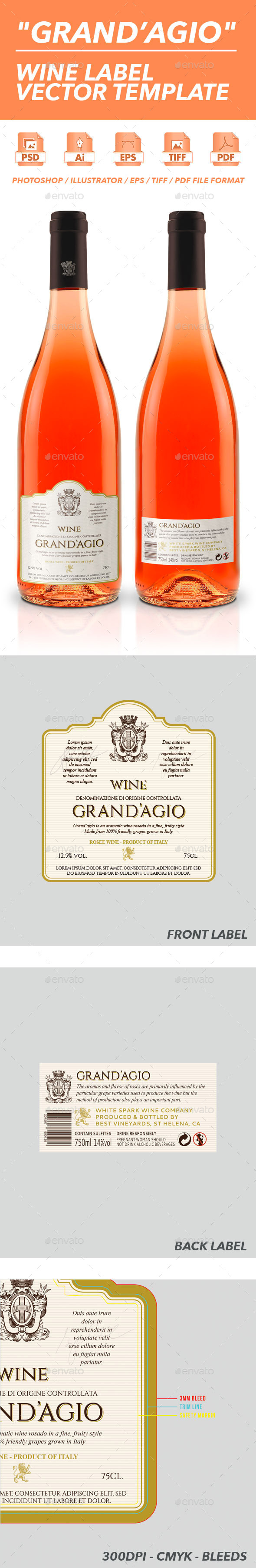 Grand'Agio - Wine Label Vector Template