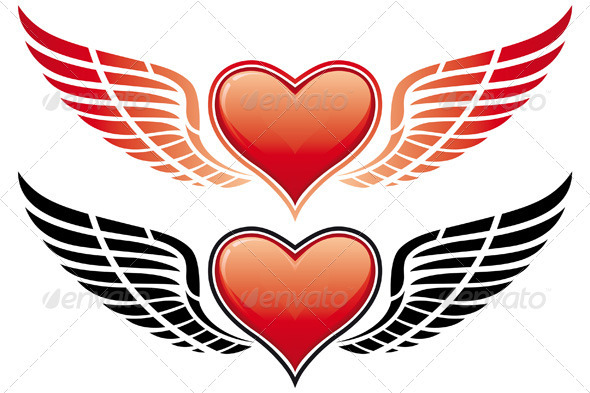 Valentines Day Heart with Wing - Valentines Seasons/Holidays