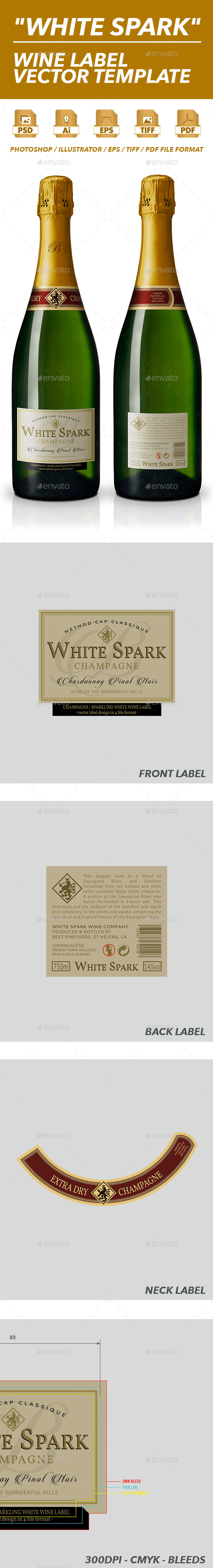 Sparkling Wine Label Vector Template
