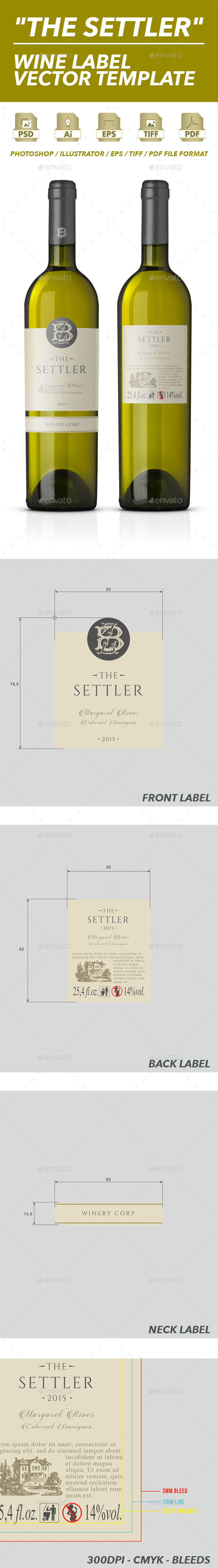 White Wine Label Vector Template