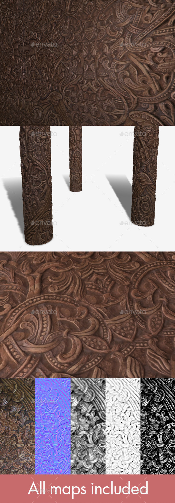 3DOcean Norse Wooden Carving Seamless Texture 11695159