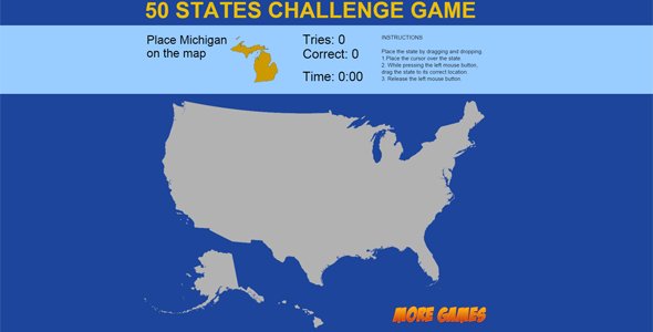 United States Map game - 50 States Challenge