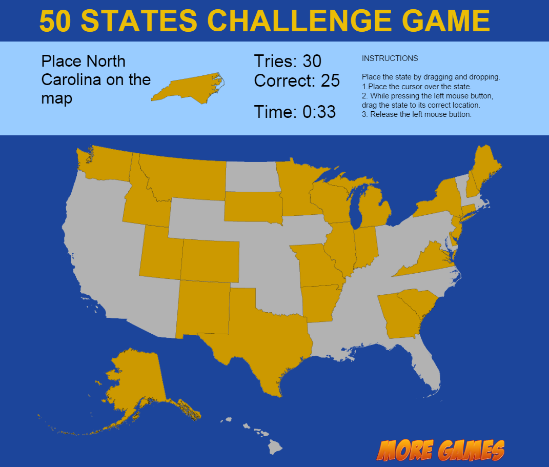 United States Map Game  States Challenge By Dexterfly CodeCanyon - Us states map puzzle game