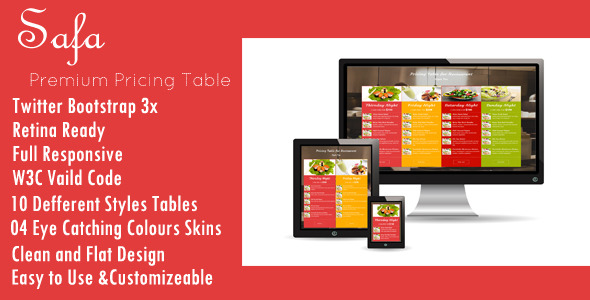 CodeCanyon Safa Premium Pricing Table 11577454