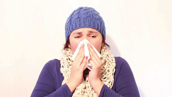 Woman Suffer from Cough and Cold