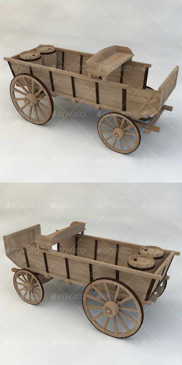 Wagon Wooden Western - 3DOcean Item for Sale