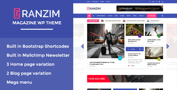 ThemeForest Ranzim Responsive Magazine WordPress Theme 11617070
